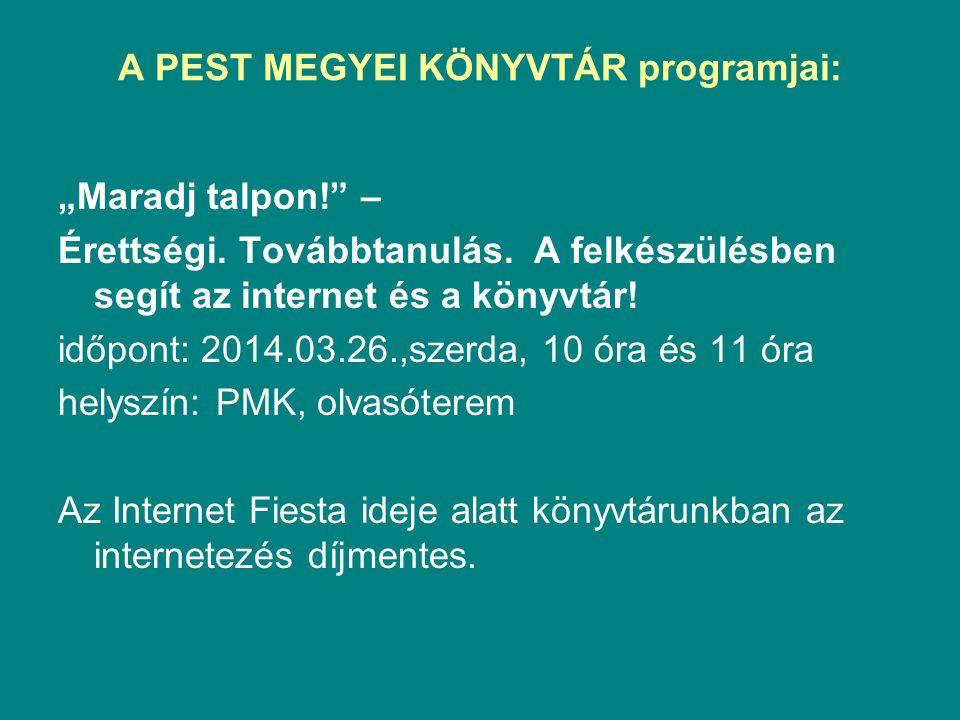 A PEST MEGYEI KÖNYVTÁR programjai:
