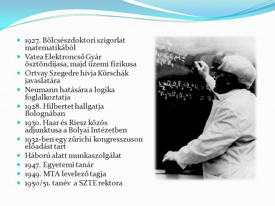 1927. Bölcsészdoktori szigorlat matematikából
