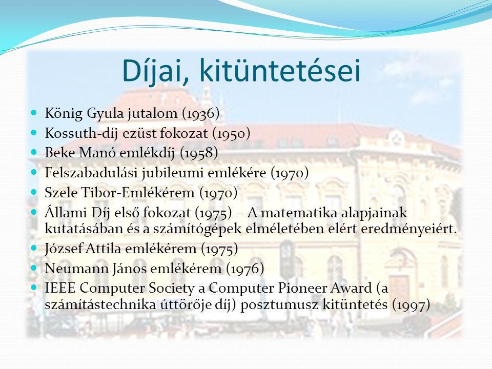 Díjai, kitüntetései König Gyula jutalom (1936)