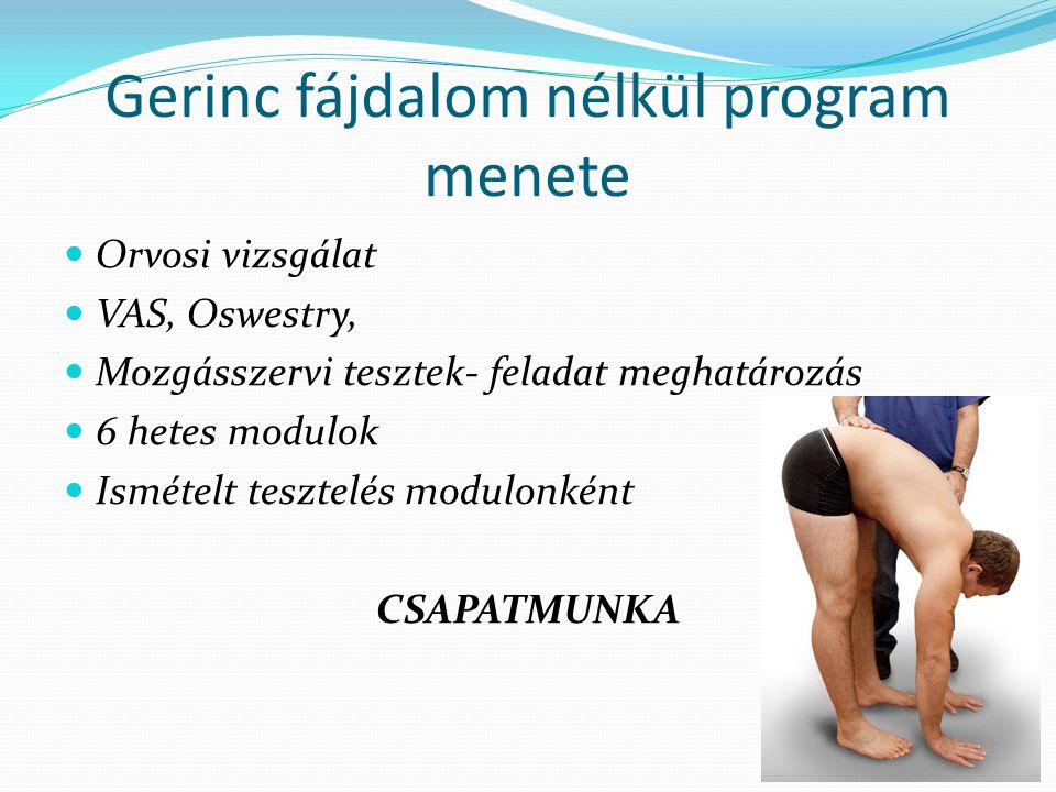 Gerinc fájdalom nélkül program menete