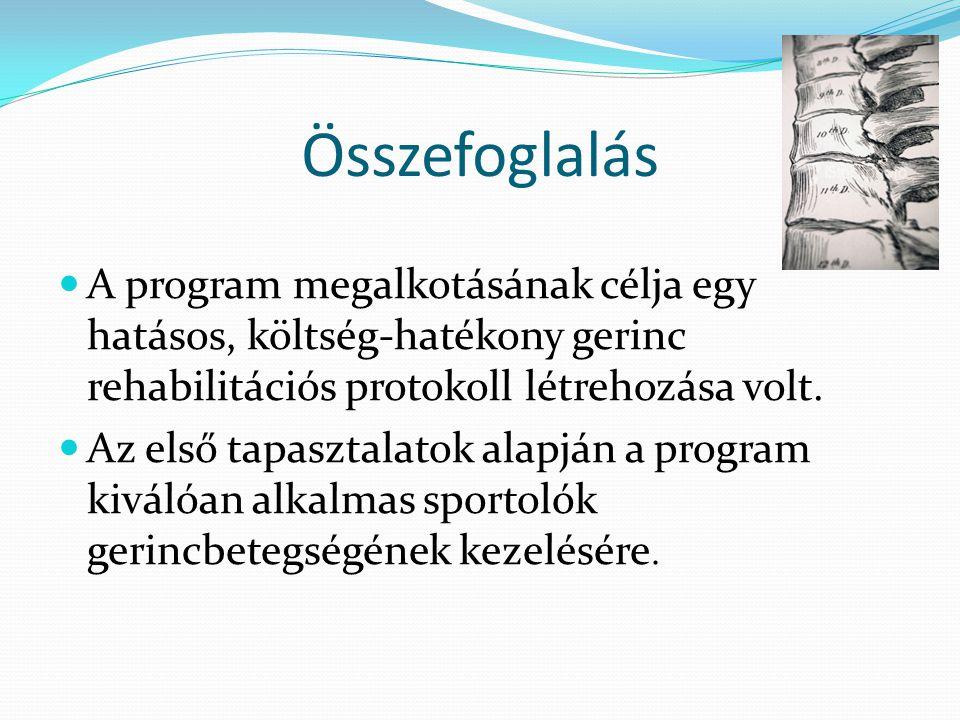 Összefoglalás A program megalkotásának célja egy hatásos, költség-hatékony gerinc rehabilitációs protokoll létrehozása volt.