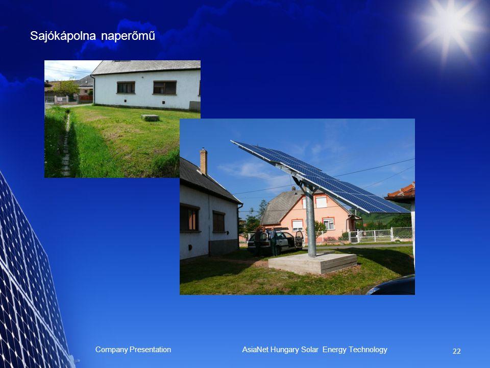 Sajókápolna naperőmű Company Presentation AsiaNet Hungary Solar Energy Technology