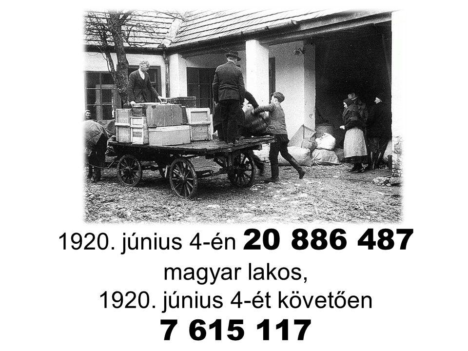 1920. június 4-én 20 886 487 magyar lakos,