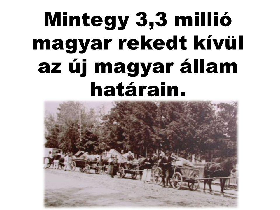 Mintegy 3,3 millió magyar rekedt kívül az új magyar állam határain.