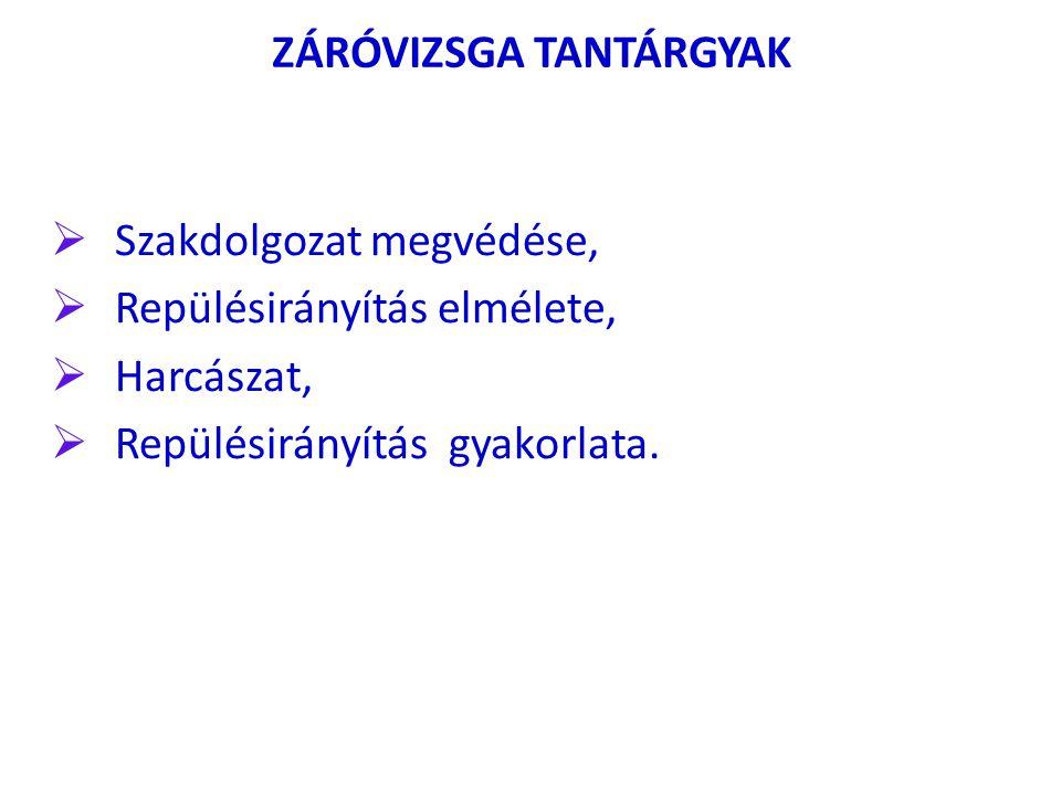 ZÁRÓVIZSGA TANTÁRGYAK