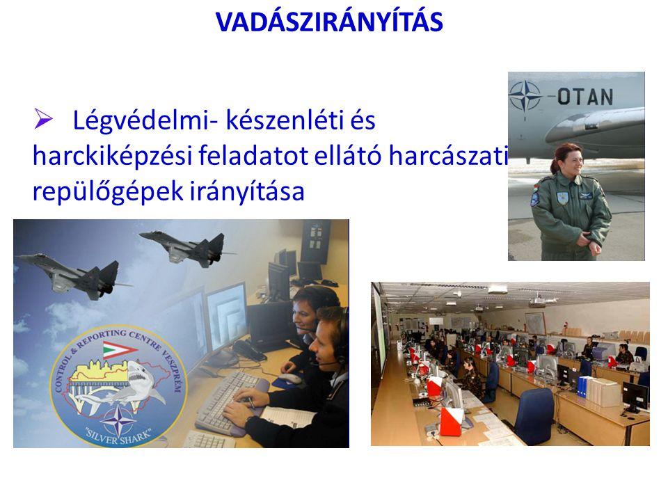 VADÁSZIRÁNYÍTÁS Légvédelmi- készenléti és harckiképzési feladatot ellátó harcászati repülőgépek irányítása.