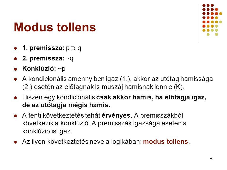 Modus tollens 1. premissza: p ﬤ q 2. premissza: ~q Konklúzió: ~p