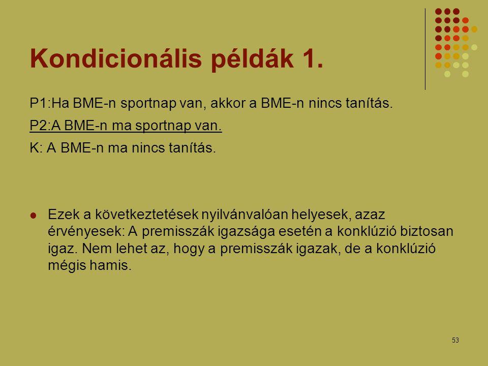 Kondicionális példák 1. P1:Ha BME-n sportnap van, akkor a BME-n nincs tanítás. P2:A BME-n ma sportnap van.