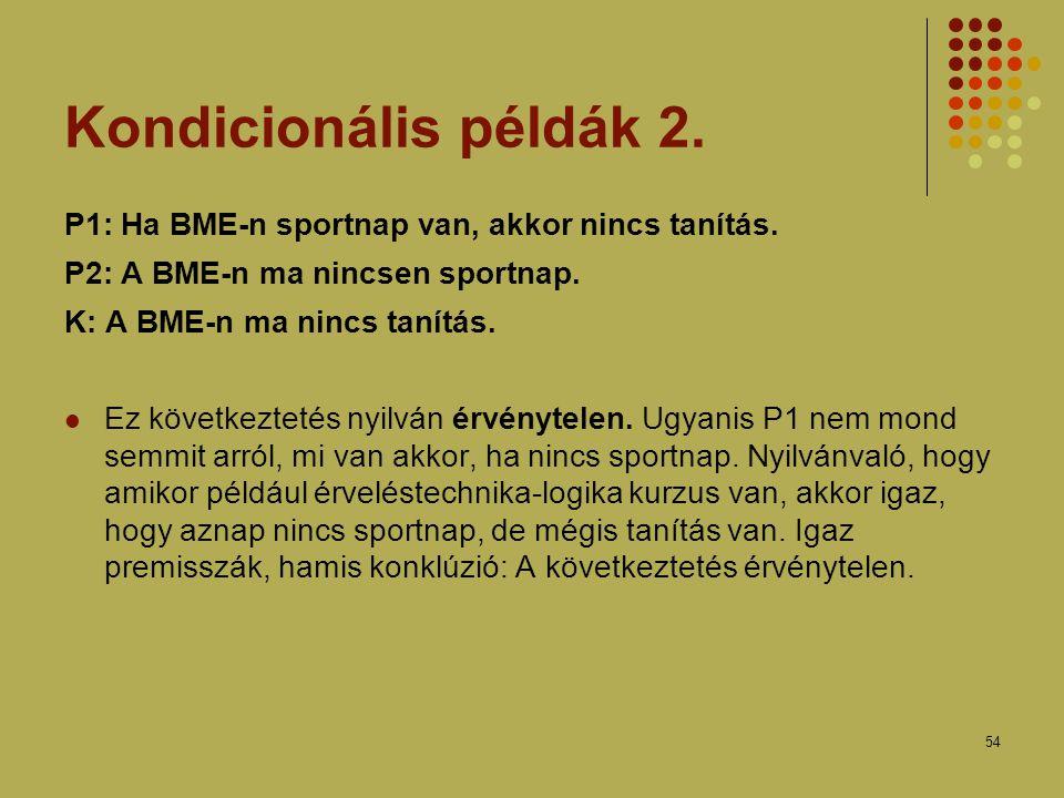 Kondicionális példák 2. P1: Ha BME-n sportnap van, akkor nincs tanítás. P2: A BME-n ma nincsen sportnap.