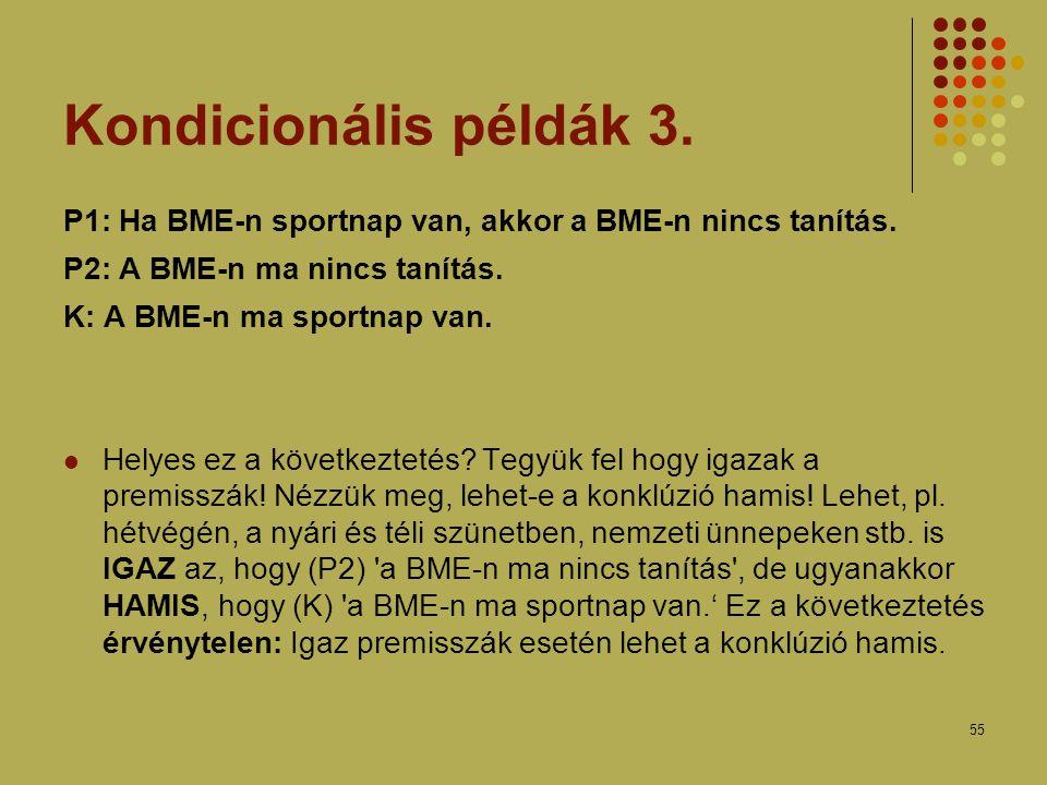 Kondicionális példák 3. P1: Ha BME-n sportnap van, akkor a BME-n nincs tanítás. P2: A BME-n ma nincs tanítás.