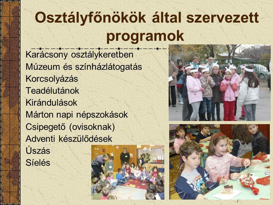 Osztályfőnökök által szervezett programok