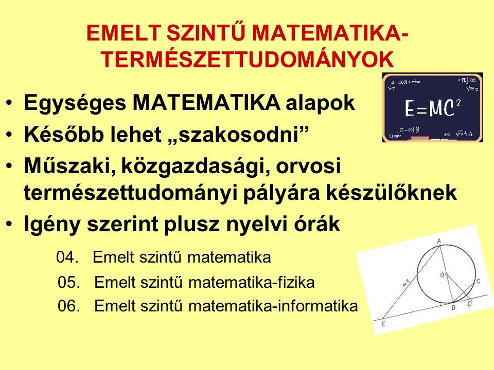 EMELT SZINTŰ MATEMATIKA-TERMÉSZETTUDOMÁNYOK
