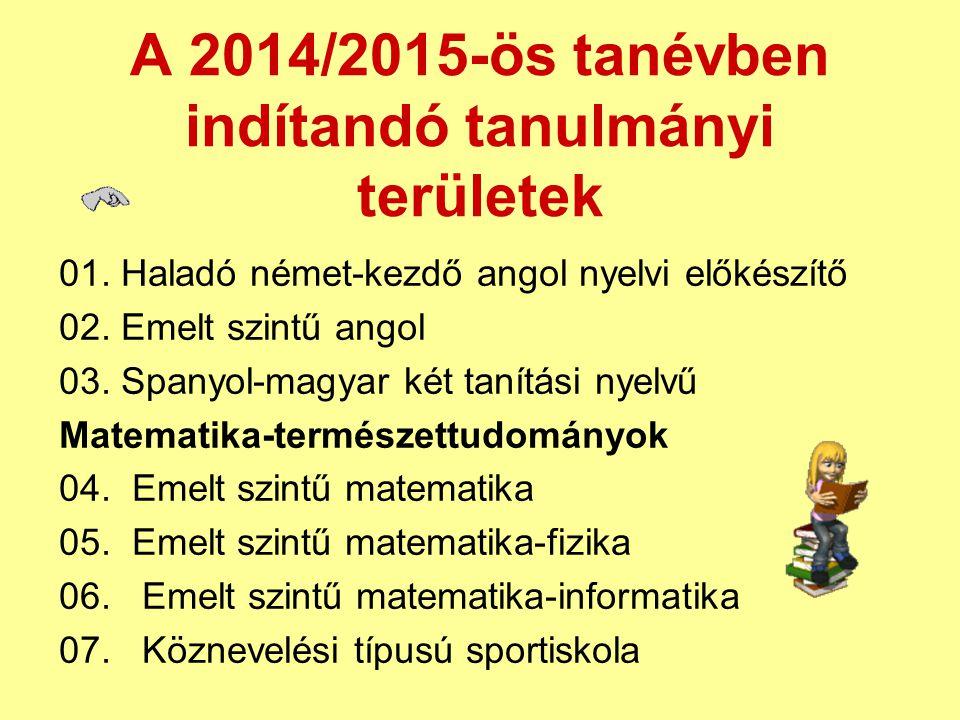 A 2014/2015-ös tanévben indítandó tanulmányi területek