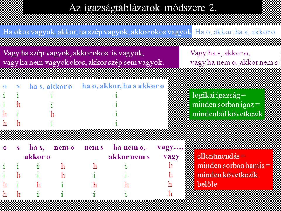 Az igazságtáblázatok módszere 2.
