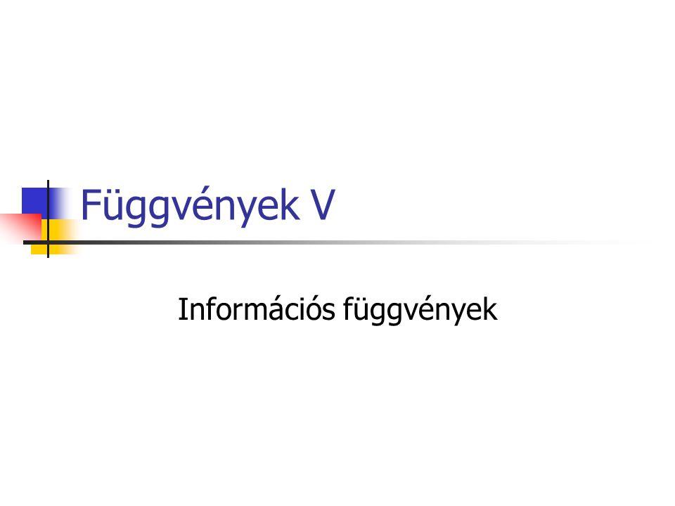 Információs függvények