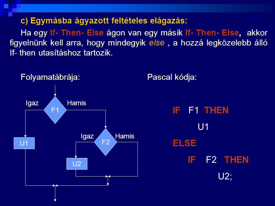 IF F1 THEN U1 ELSE IF F2 THEN U2;