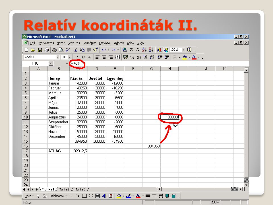Relatív koordináták II.