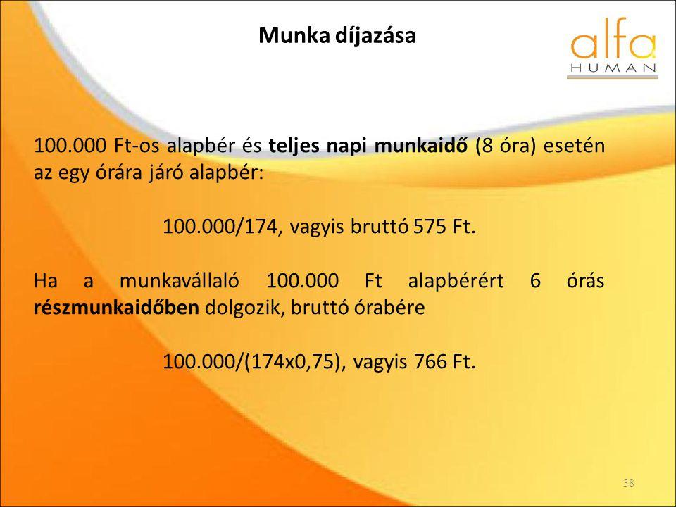 Munka díjazása 100.000 Ft-os alapbér és teljes napi munkaidő (8 óra) esetén az egy órára járó alapbér: