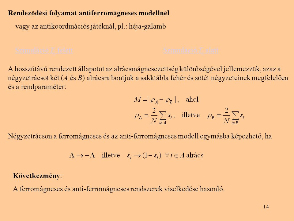 Rendeződési folyamat antiferromágneses modellnél