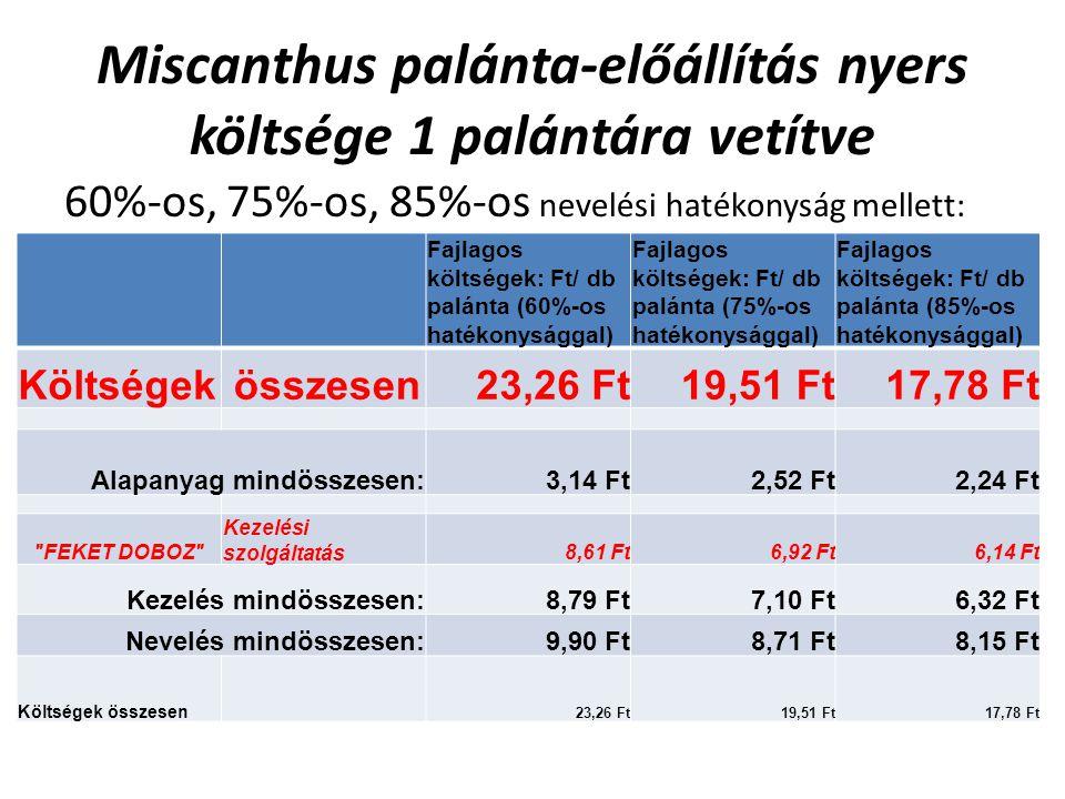 Miscanthus palánta-előállítás nyers költsége 1 palántára vetítve