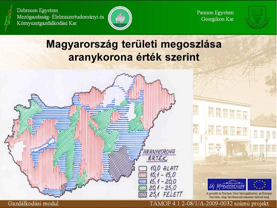 Magyarország területi megoszlása aranykorona érték szerint