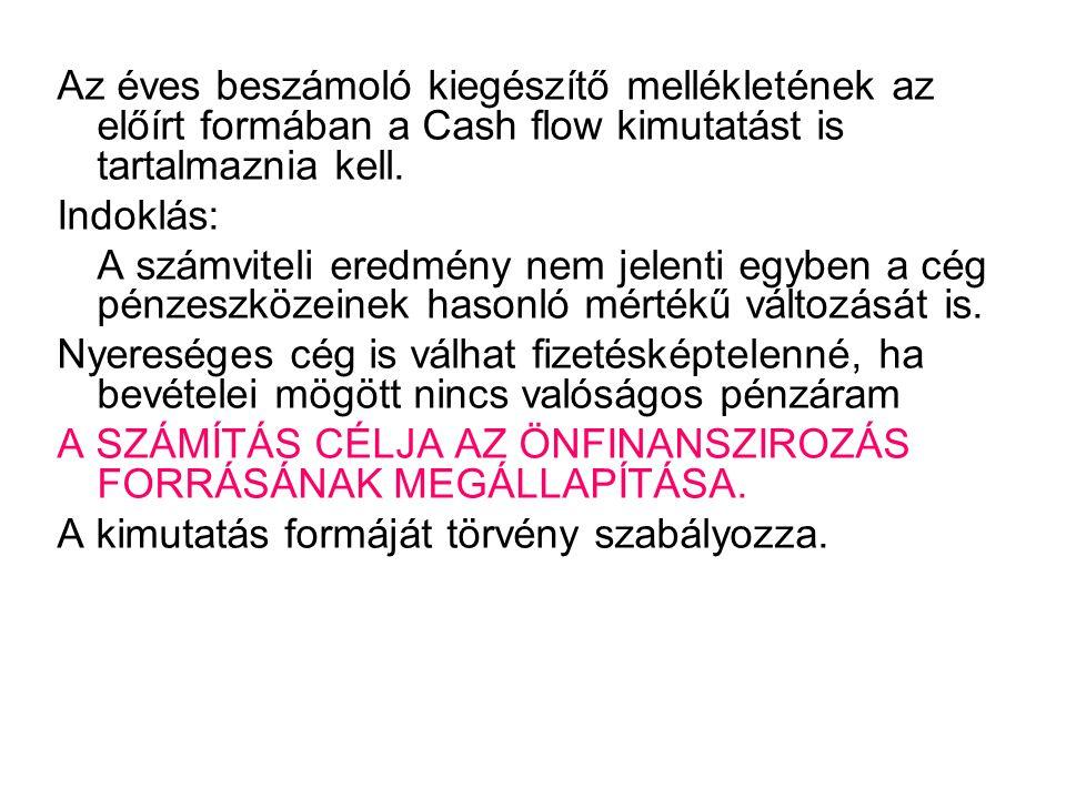 Az éves beszámoló kiegészítő mellékletének az előírt formában a Cash flow kimutatást is tartalmaznia kell.