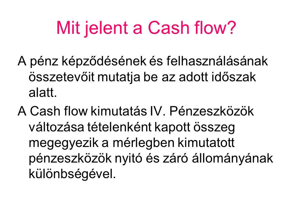 Mit jelent a Cash flow A pénz képződésének és felhasználásának összetevőit mutatja be az adott időszak alatt.