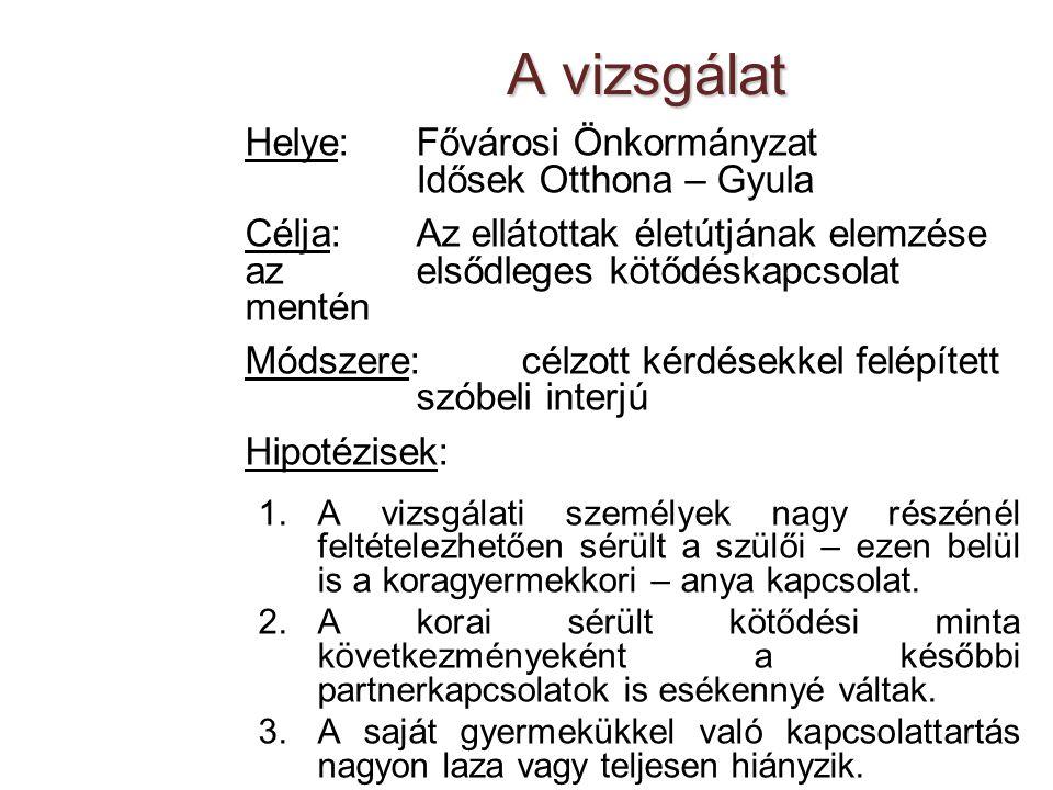 A vizsgálat Helye: Fővárosi Önkormányzat Idősek Otthona – Gyula