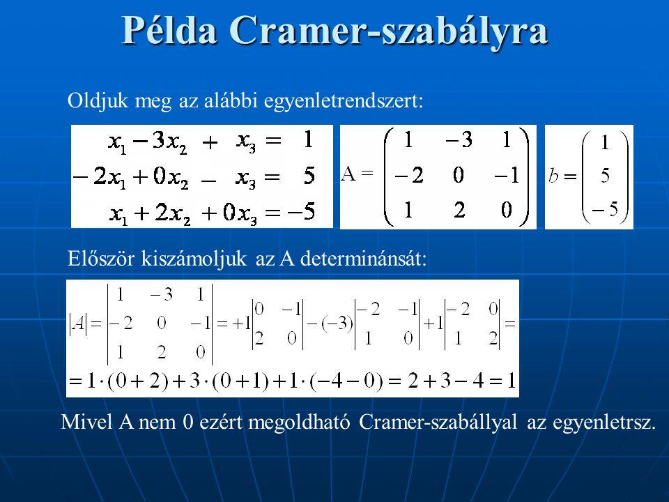 Példa Cramer-szabályra