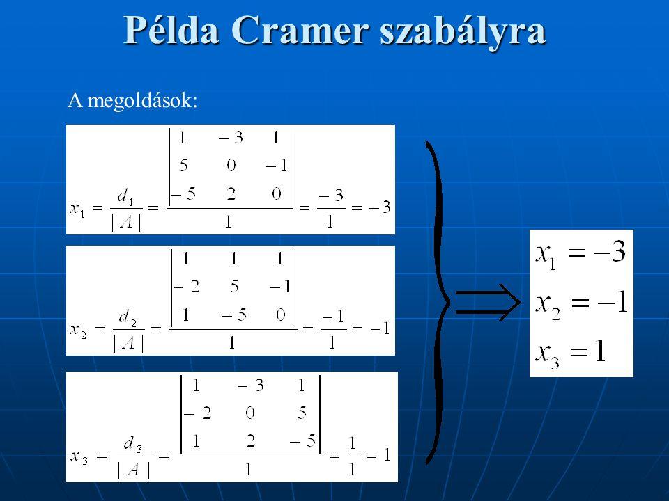 Példa Cramer szabályra