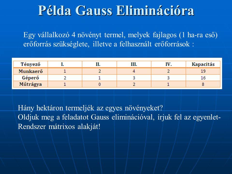 Példa Gauss Eliminációra