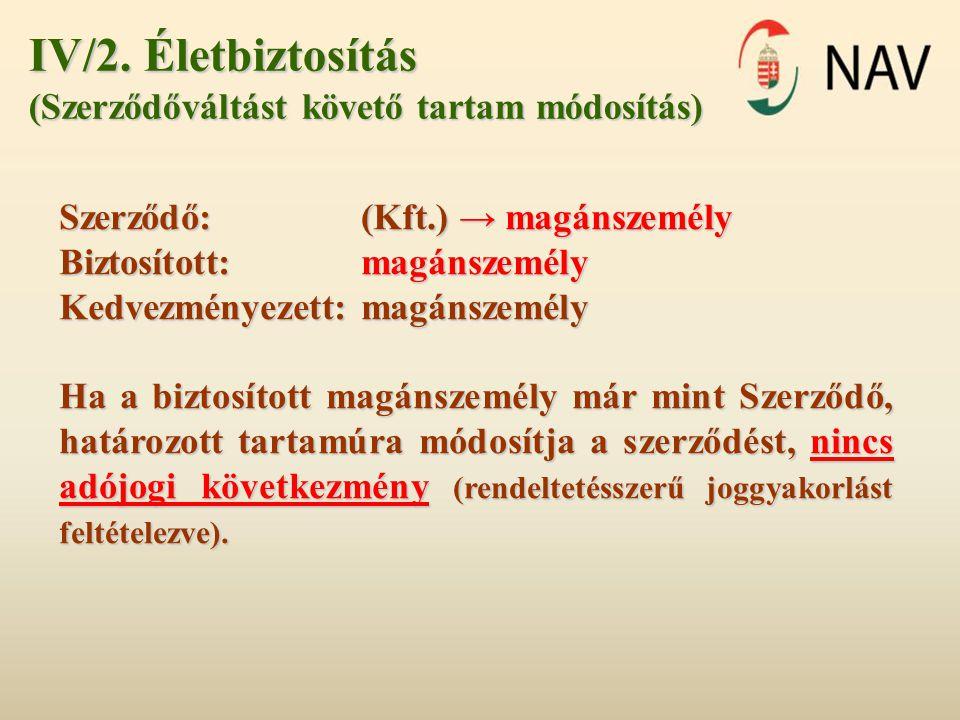 IV/2. Életbiztosítás (Szerződőváltást követő tartam módosítás)