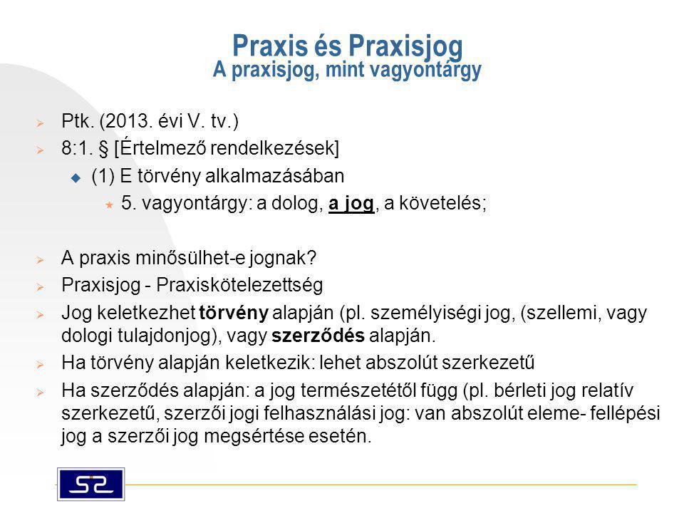 Praxis és Praxisjog A praxisjog, mint vagyontárgy