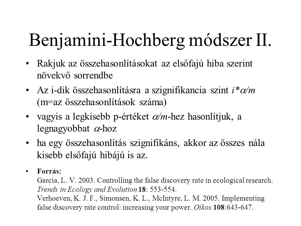 Benjamini-Hochberg módszer II.
