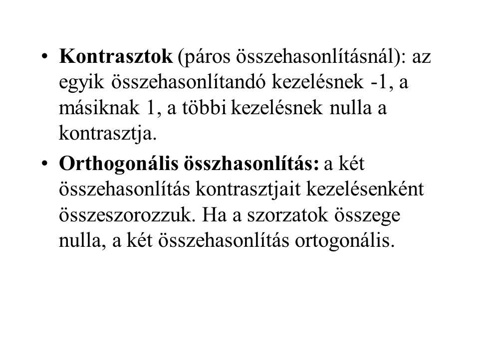 Kontrasztok (páros összehasonlításnál): az egyik összehasonlítandó kezelésnek -1, a másiknak 1, a többi kezelésnek nulla a kontrasztja.