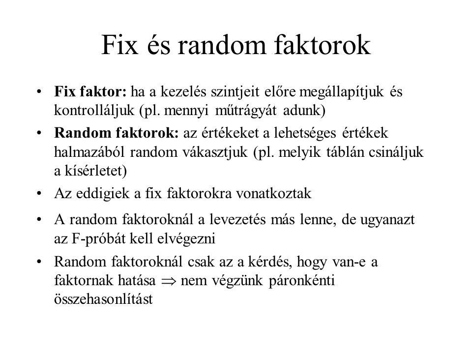 Fix és random faktorok Fix faktor: ha a kezelés szintjeit előre megállapítjuk és kontrolláljuk (pl. mennyi műtrágyát adunk)