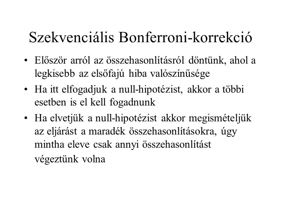 Szekvenciális Bonferroni-korrekció