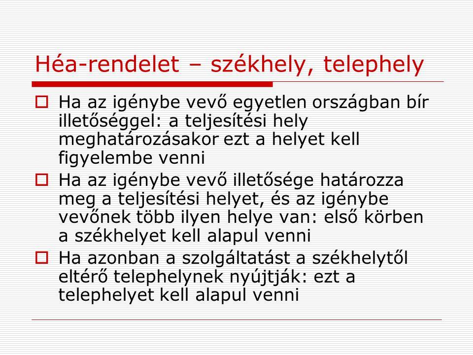Héa-rendelet – székhely, telephely