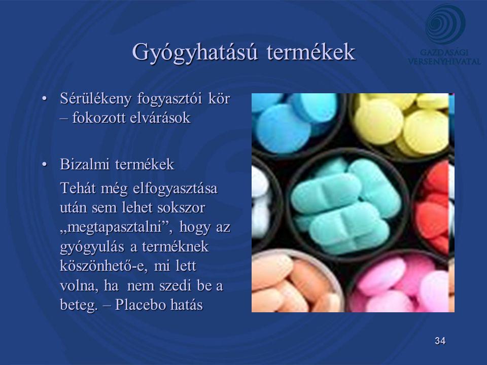 Gyógyhatású termékek Sérülékeny fogyasztói kör – fokozott elvárások
