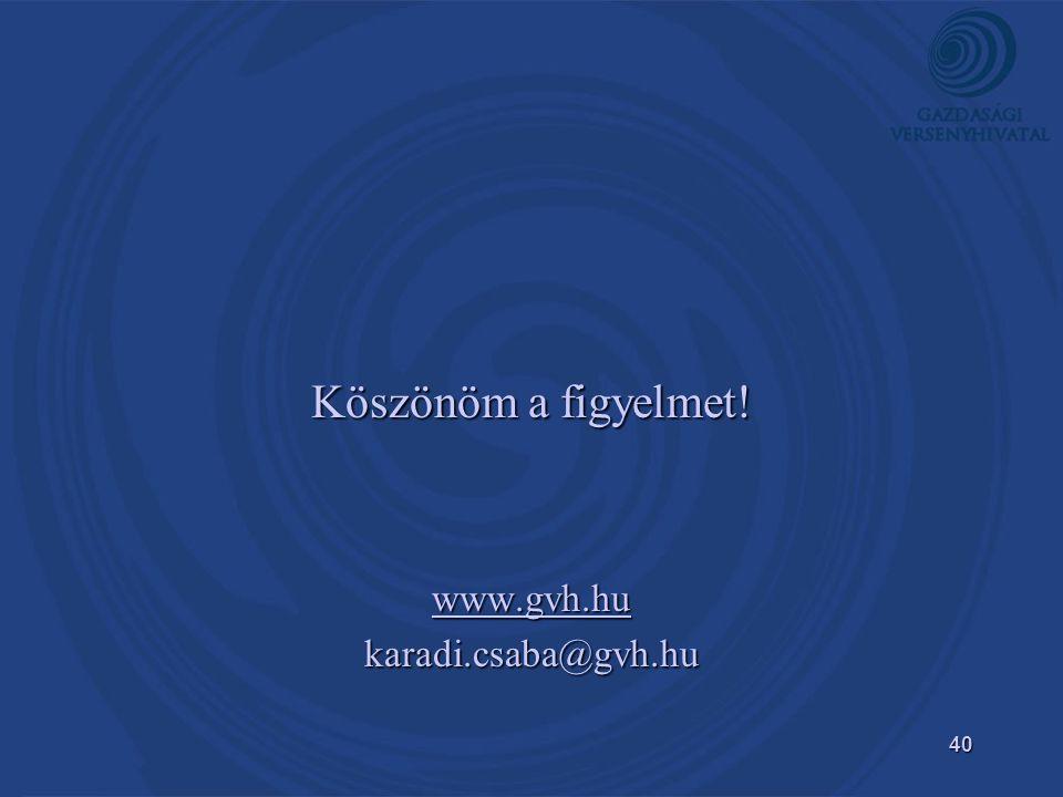 Köszönöm a figyelmet! www.gvh.hu karadi.csaba@gvh.hu
