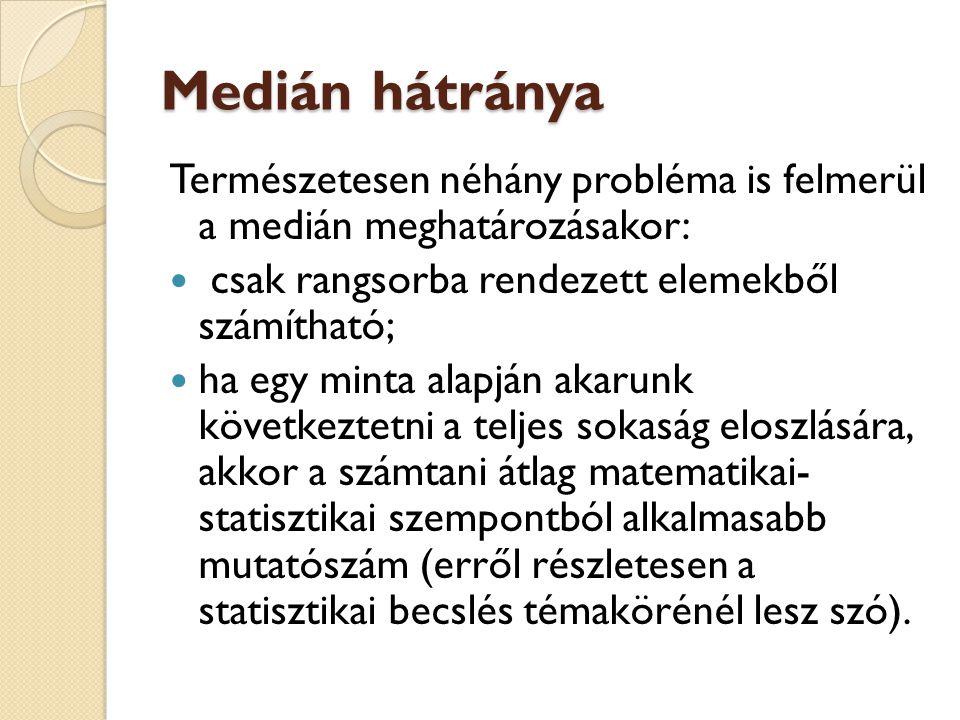 Medián hátránya Természetesen néhány probléma is felmerül a medián meghatározásakor: csak rangsorba rendezett elemekből számítható;