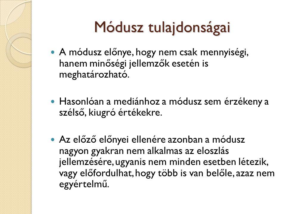 Módusz tulajdonságai A módusz előnye, hogy nem csak mennyiségi, hanem minőségi jellemzők esetén is meghatározható.