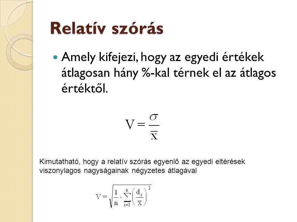 Relatív szórás Amely kifejezi, hogy az egyedi értékek átlagosan hány %-kal térnek el az átlagos értéktől.