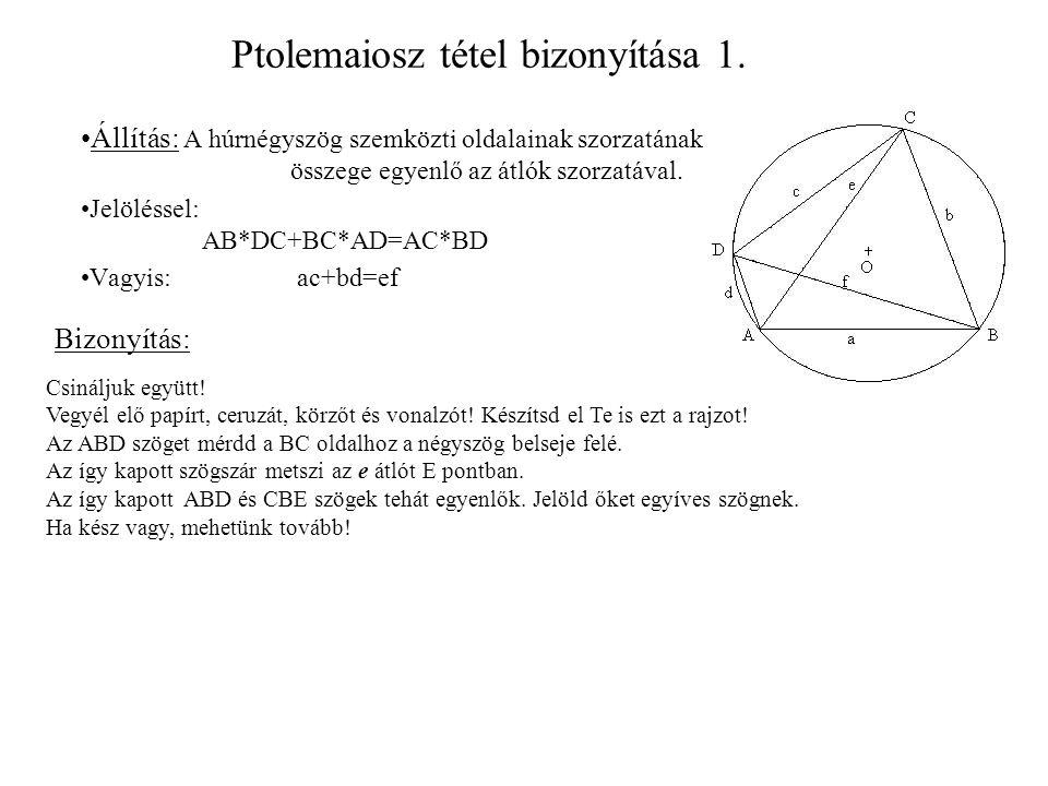 Ptolemaiosz tétel bizonyítása 1.
