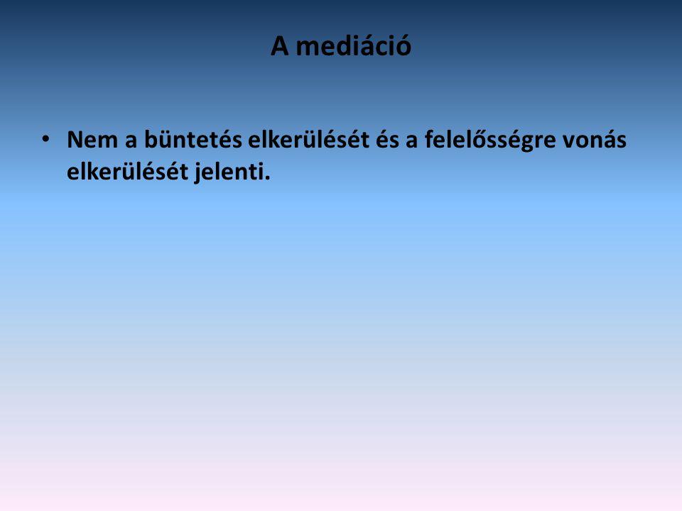 A mediáció Nem a büntetés elkerülését és a felelősségre vonás elkerülését jelenti.