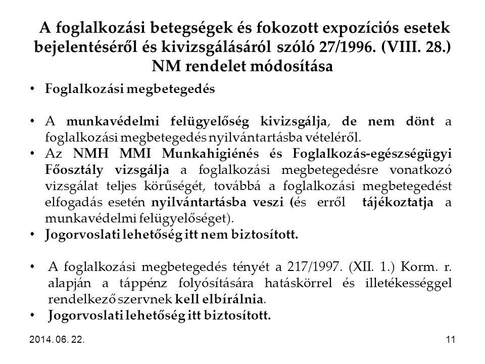 A foglalkozási betegségek és fokozott expozíciós esetek bejelentéséről és kivizsgálásáról szóló 27/1996. (VIII. 28.) NM rendelet módosítása