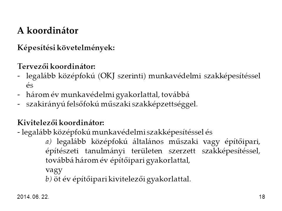 Képesítési követelmények: Tervezői koordinátor:
