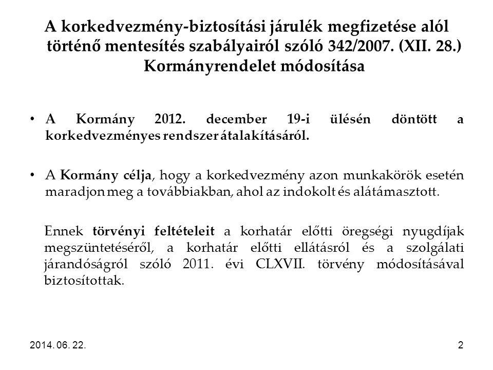 A korkedvezmény-biztosítási járulék megfizetése alól történő mentesítés szabályairól szóló 342/2007. (XII. 28.) Kormányrendelet módosítása