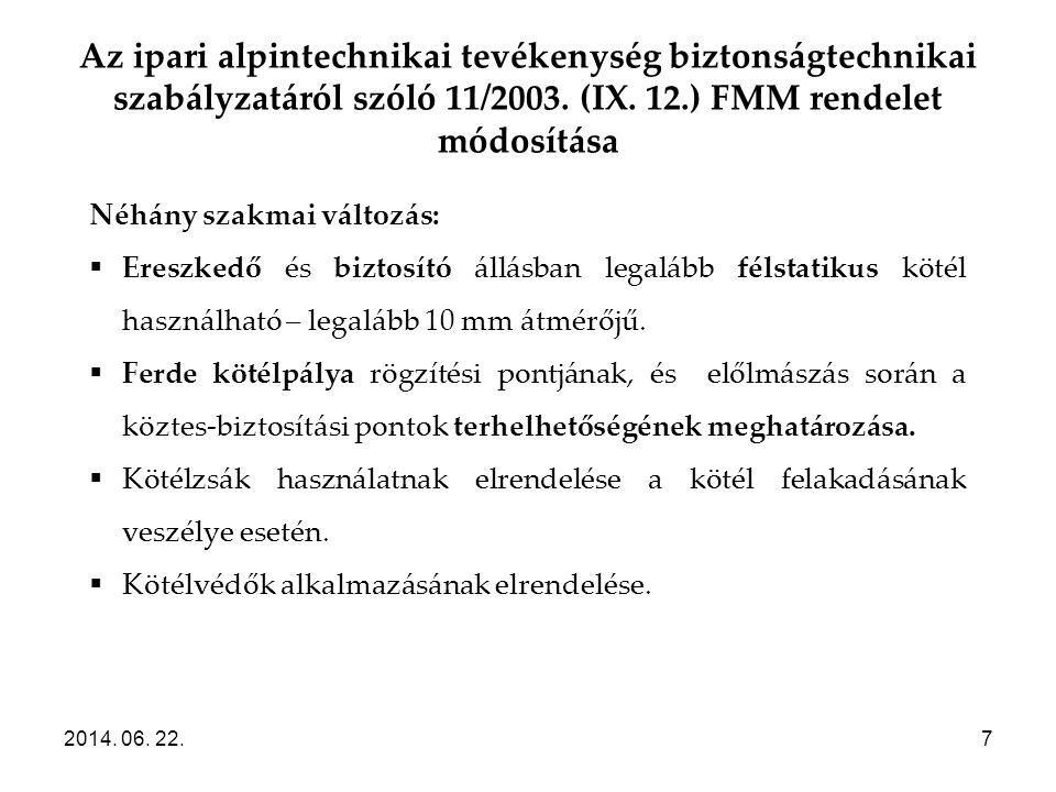 Az ipari alpintechnikai tevékenység biztonságtechnikai szabályzatáról szóló 11/2003. (IX. 12.) FMM rendelet módosítása