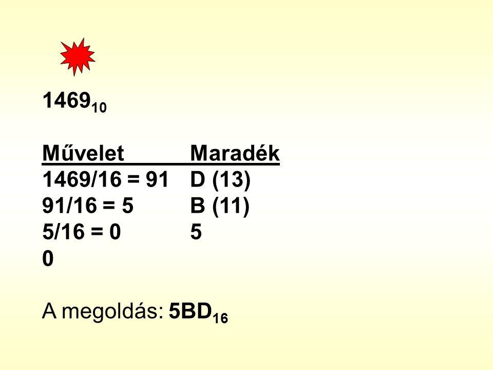 146910 Művelet Maradék 1469/16 = 91 D (13) 91/16 = 5 B (11) 5/16 = 0 5 A megoldás: 5BD16